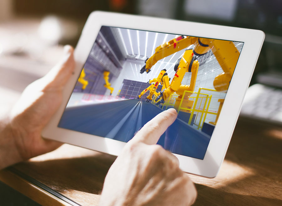 tablet controlling industrial equipment